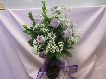 Lovely in Lavender, $65.00 Purple Vase, Lavender Roses