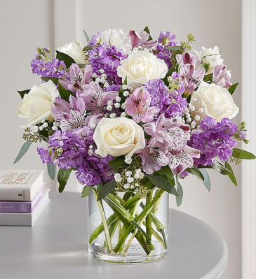 Lovely in Lavender Roses, Matthiola, Alstromeria and more!