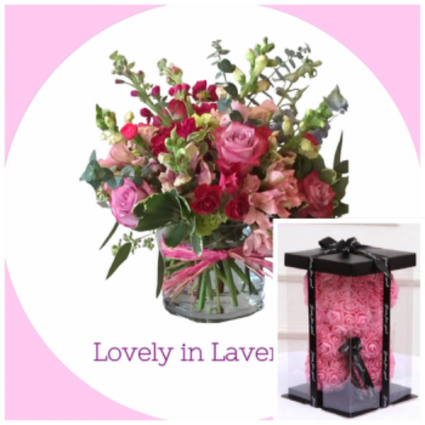 Lovely in Lavender  Vase with Bear Special