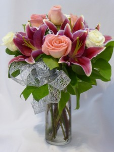 LOVELY LADY- Roses, Pink Lilies Roses, Flowers, Flower Arrangements, Flower Bouquets, Flowers Roses Gifts Prince George BC.  Add Chocolates & Gifts