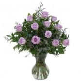 Lovely Lavender Roses Fresh Flower Arrangement