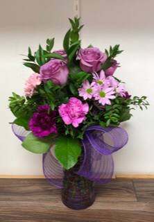 Lovely lavender and pink blooms Vase arrangement