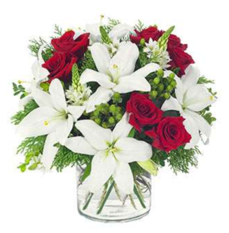 Lovely Lily & Rose Cylinder For Holiday Arrangement