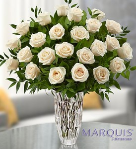 Lovely Premium White Roses Keepsake Marquis by Waterford® Vase in Gainesville, FL | PRANGE'S FLORIST