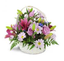 LOVELY PURPLE FLOWER BASKET  basket arrangement