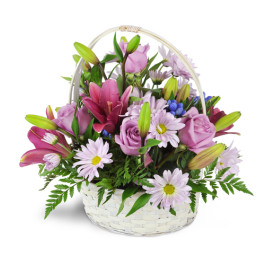 LOVELY PURPLE FLOWER BASKET  basket arrangement