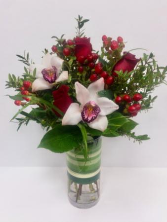 Lovely Roses & Cymbidium Orchids  Vase