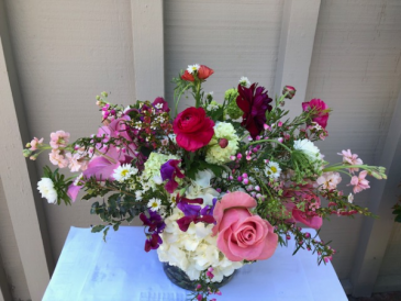 Lovely Summer Bouquet low arrangement with seasonal summer flowers