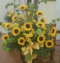 Lovely Sunflowers  Designer Container Arrangement