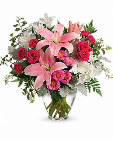 Lovely Sweetness lilies and spray roses