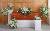 Lovely White Funeral Package Six Piece Funeral Package in White Flowers