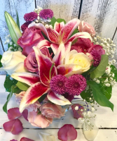 lovely/pinks lillies and roses