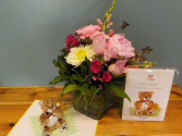 LovePop Baby Girl flowers and card