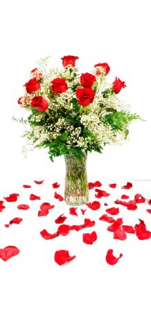 Moms Devotion Premium long stem Red Roses. Vase Arrangement