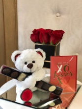 Lover's Package  Flowers, Chocolate, Teddy Bear and Card