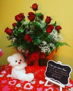 Lover's Special- Dozen Rose Arrangement Vase Arrangement Combo