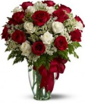 Loves Devine Two Dozen Red & White Roses