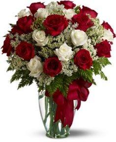 Loves Devine Two Dozen Red & White Roses