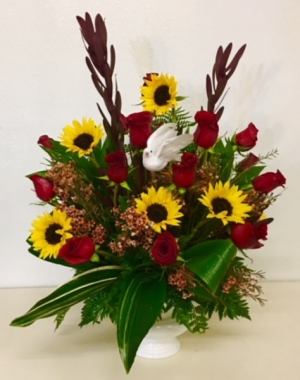 Love's Journey Sunflowers with Roses and Mix Fall Colors.  Accented with White Dove in Plainview, TX | Kan Del's Floral, Candles & Gifts