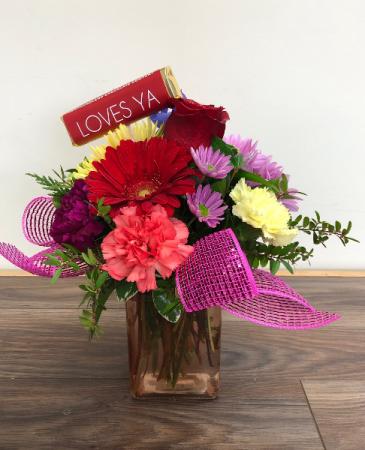 """Loves Ya"" Vase arrangement"