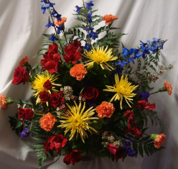 """Loving Blooms"" Arrangement of Bright Mixture of  Flowers."