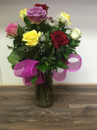 Rainbow of love 12 Mixed roses in a vase