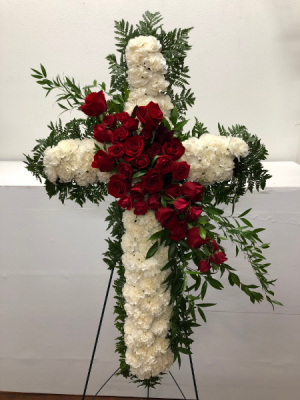Loving Faith Cross Easel Arrangement in North Bend, OR | PETAL TO THE METAL FLOWERS