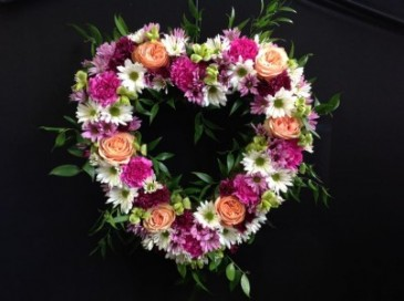 Loving Farewell Heart Wreath Funeral Flowers
