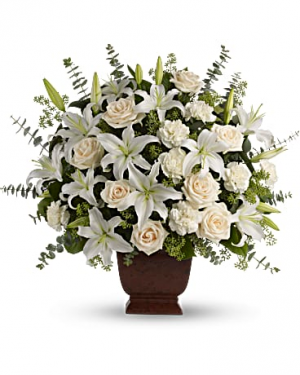 Loving Lilies and Roses Bouquet Sympathy Arrangement in Miami, FL | FLOWERTOPIA