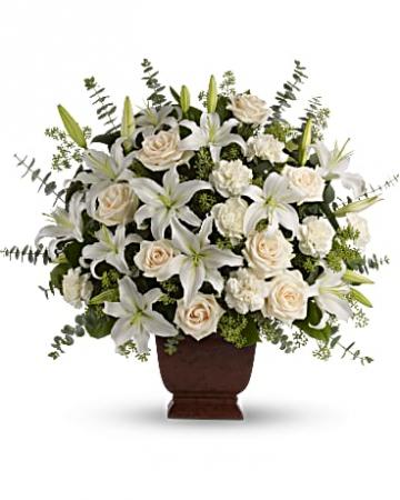 Loving Lilies And Roses Bouquet Vase Arrangement