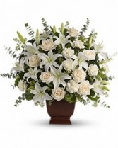 Loving Lilies and Roses Funeral Basket