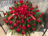 Loving memories  Red rose casket spray