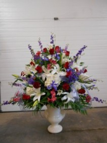 Loving Memories Urn Red roses, White Lilies, Purple accents