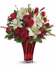 Teleflora's Love's Passion Bouquet Vased Fresh Arrangement
