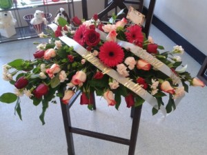 Loving Pink Lady casket spray in Newmarket, ON | THE ROSE PROS