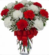 Loving Red and White Carnation Vase  Vase Arrangement