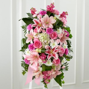 Loving Remebrence All pink standing Spray in Northport, NY | Hengstenberg's Florist