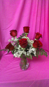 R6V Loving Thoughts 6 roses arranged with baby breath