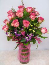 MAKING YOU SMILE SOFTLY  18 Roses & Orchids Vase