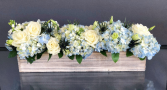 low and long, blue and white centerpiece