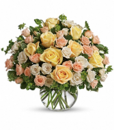 Low and Lush Bouquet of Pastel Roses