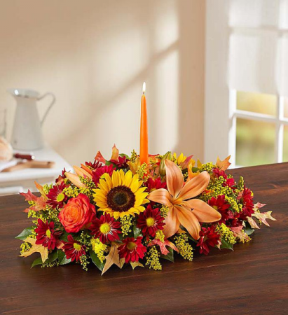 Low & Long Centerpiece with Candle Great for your holiday table