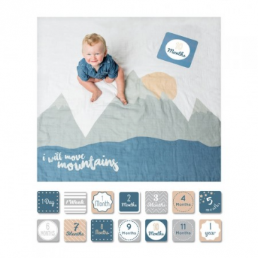 "Lulujo ""Move Mountains"" Swaddle Set Milestone Blanket Set"