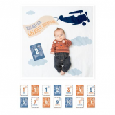 "Lulujo "" Greatest Adventure"" Swaddle Set Milestones Blanket Set"
