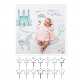 "Lulujo ""Something Magical"" Swaddle Set Milestone Blanket Set"
