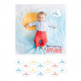 "Lulujo ""You Are My Sunshine"" Swaddle Set Milestone Blanket Set"