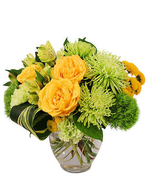 Lush Lemon Roses Flower Arrangement in Sandersville, GA | DAWN'S FLOWERS & GIFTS