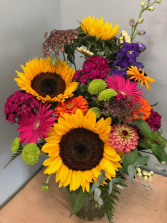 Lush Summer Sunshine fresh vase arrangement