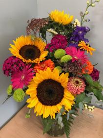 Lush Summer Sunshine fresh vase arrangement