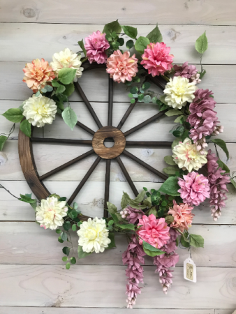 Lush Wagon Wheel Wreath